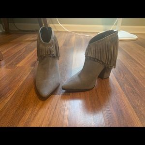 Kenneth Kole Reaction Gray fringe booties